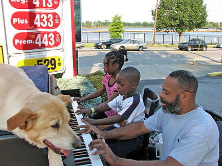 Traveling Piano: Piano Man Danny Kean with Dog Mo and